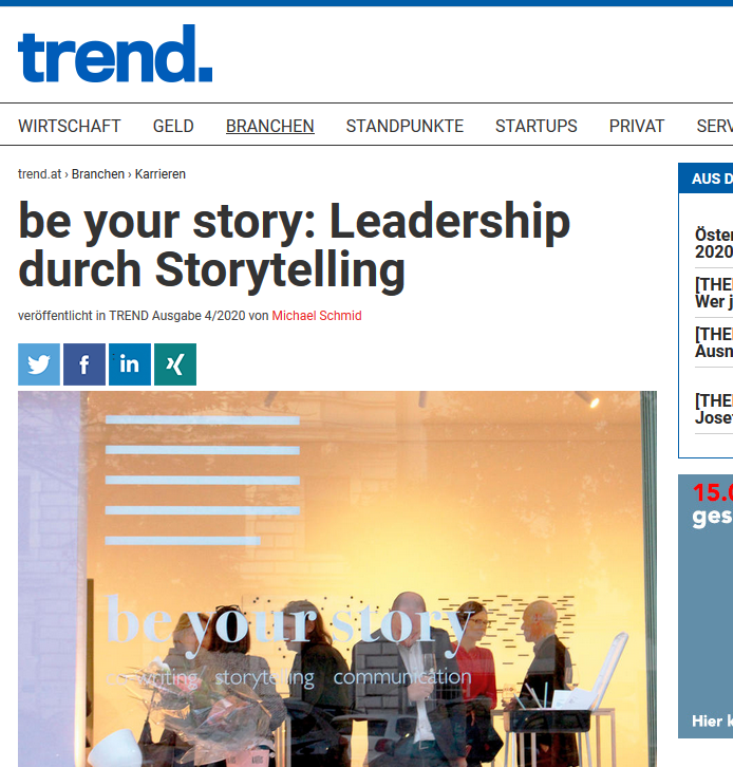 Artikel be your story_Bettina fürlinger im trend. 04_2020
